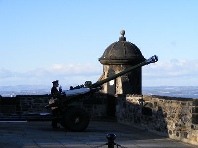 One O'Clock Gun about to be fired at Edinburgh Castle