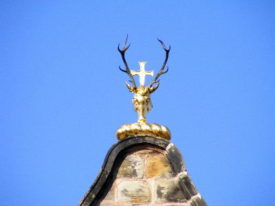 Antlers and cross set above Canongate Kirk, Edinburgh